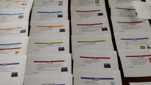 Colour coded index cards showing how i structured Looking for Jonah
