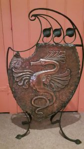 art nouveau copper dragon fire screen
