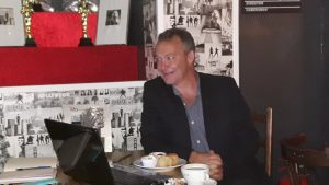 Author Alex Wade at the Longboat Inn, Penzance